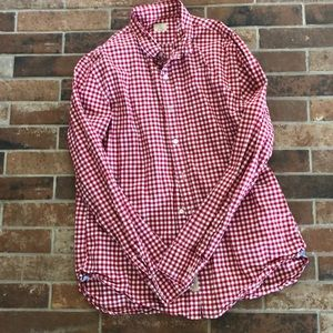 J Crew men's red gingham button down large